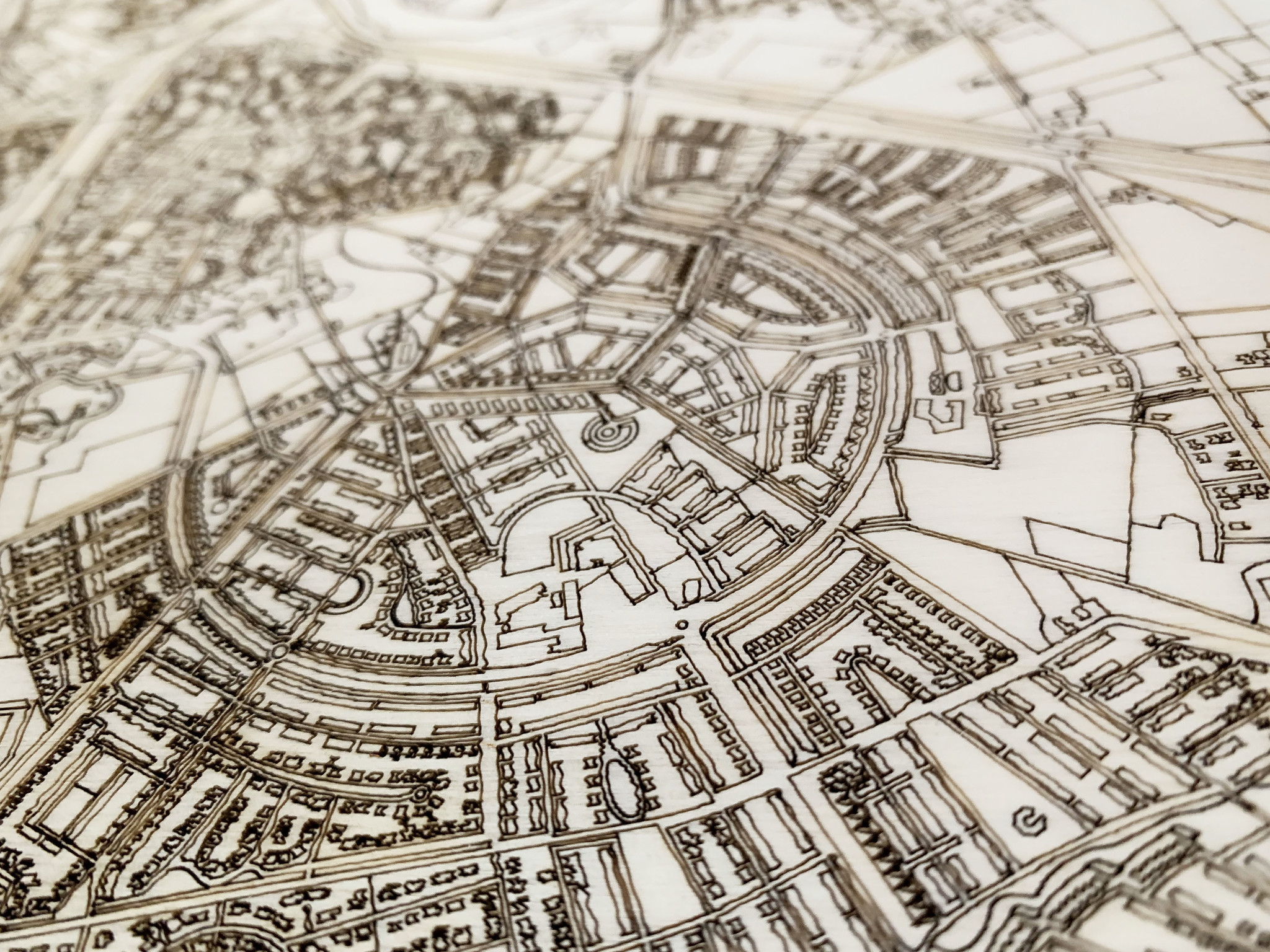 Stadtplan Santiago | Wanddekoration Holz-3