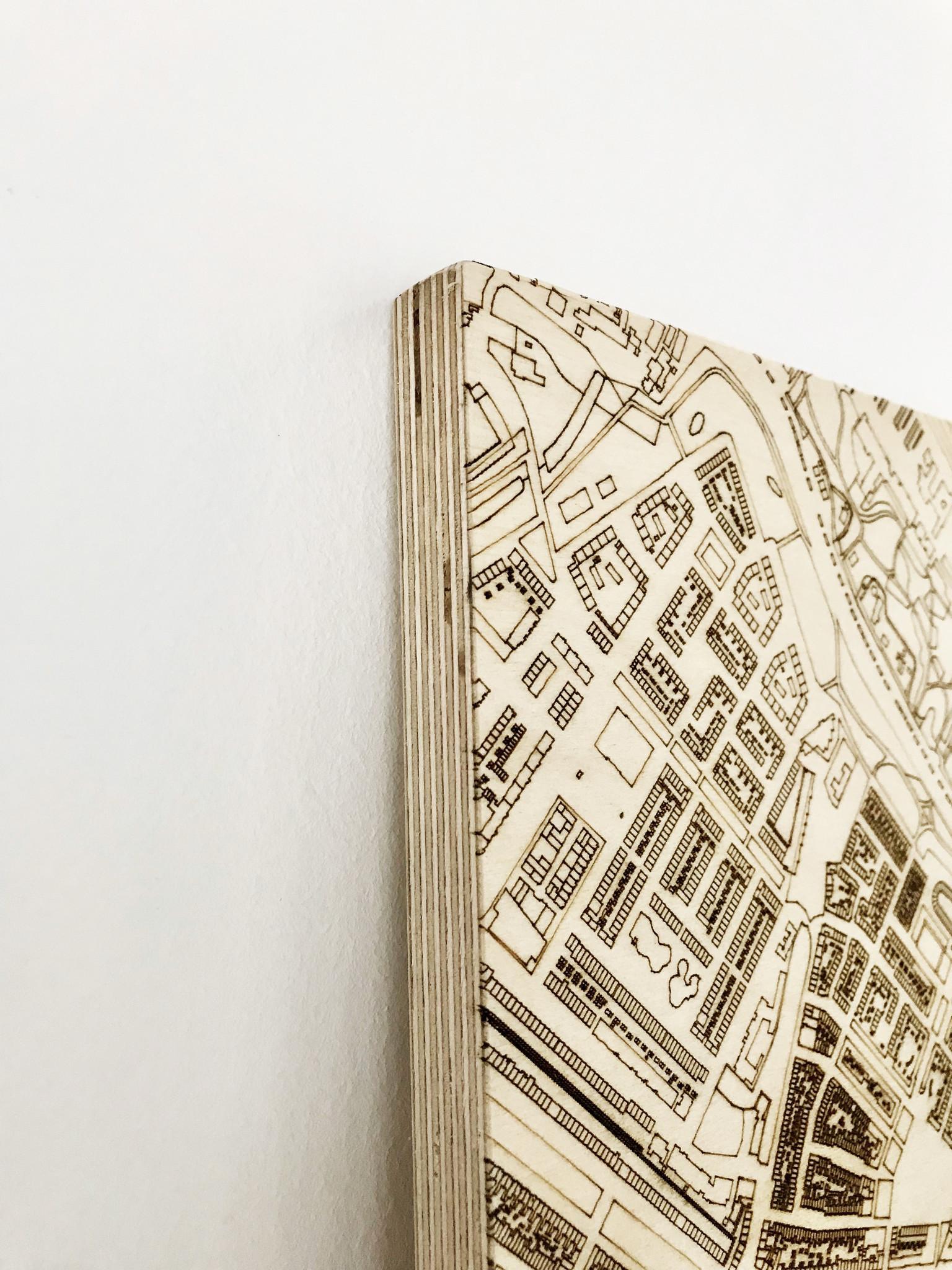 Stadtplan Santiago | Wanddekoration Holz-5