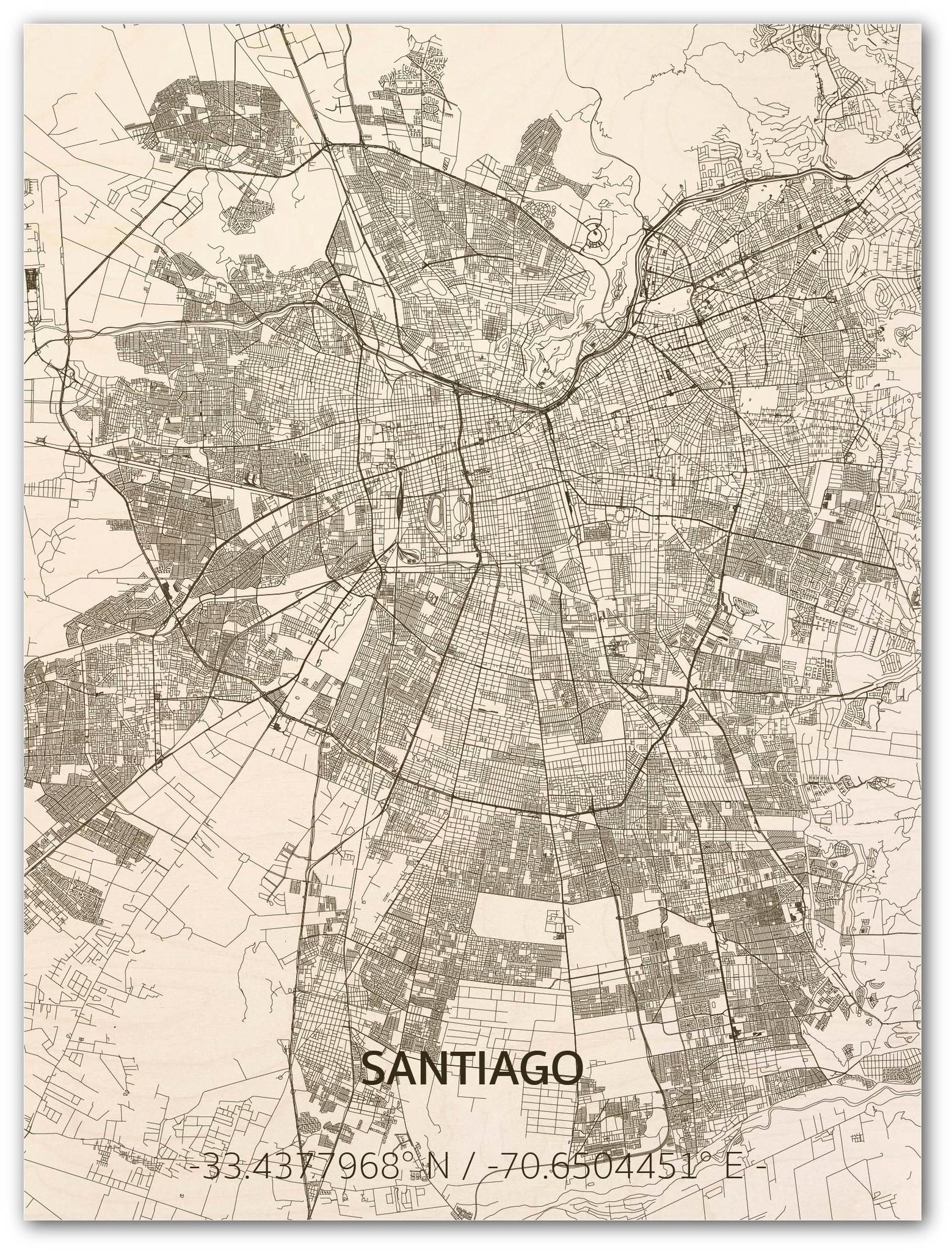 Stadtplan Santiago | Wanddekoration Holz-1