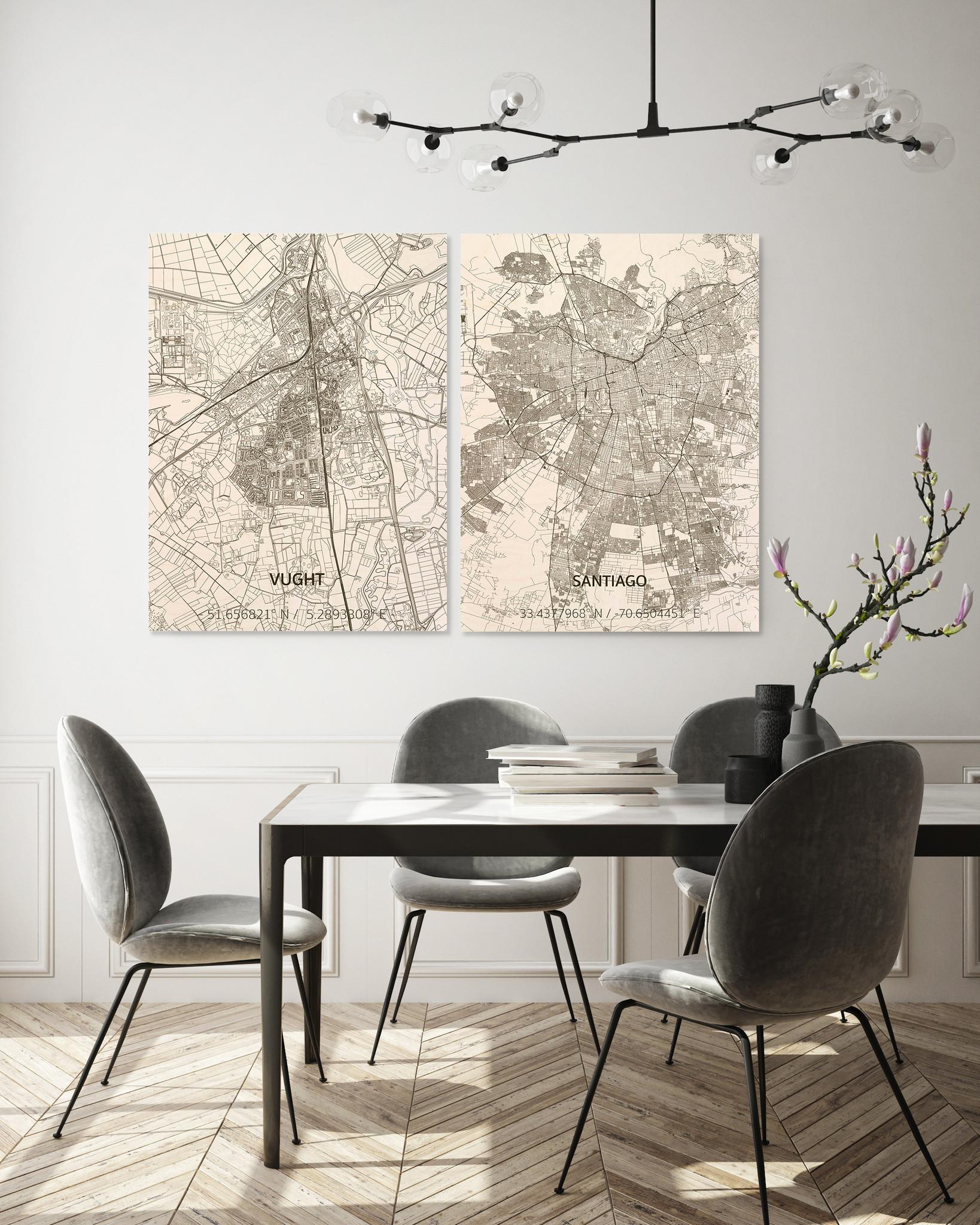 Stadtplan Santiago | Wanddekoration Holz-2
