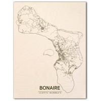 Stadtplan Bonaire | Wanddekoration Holz
