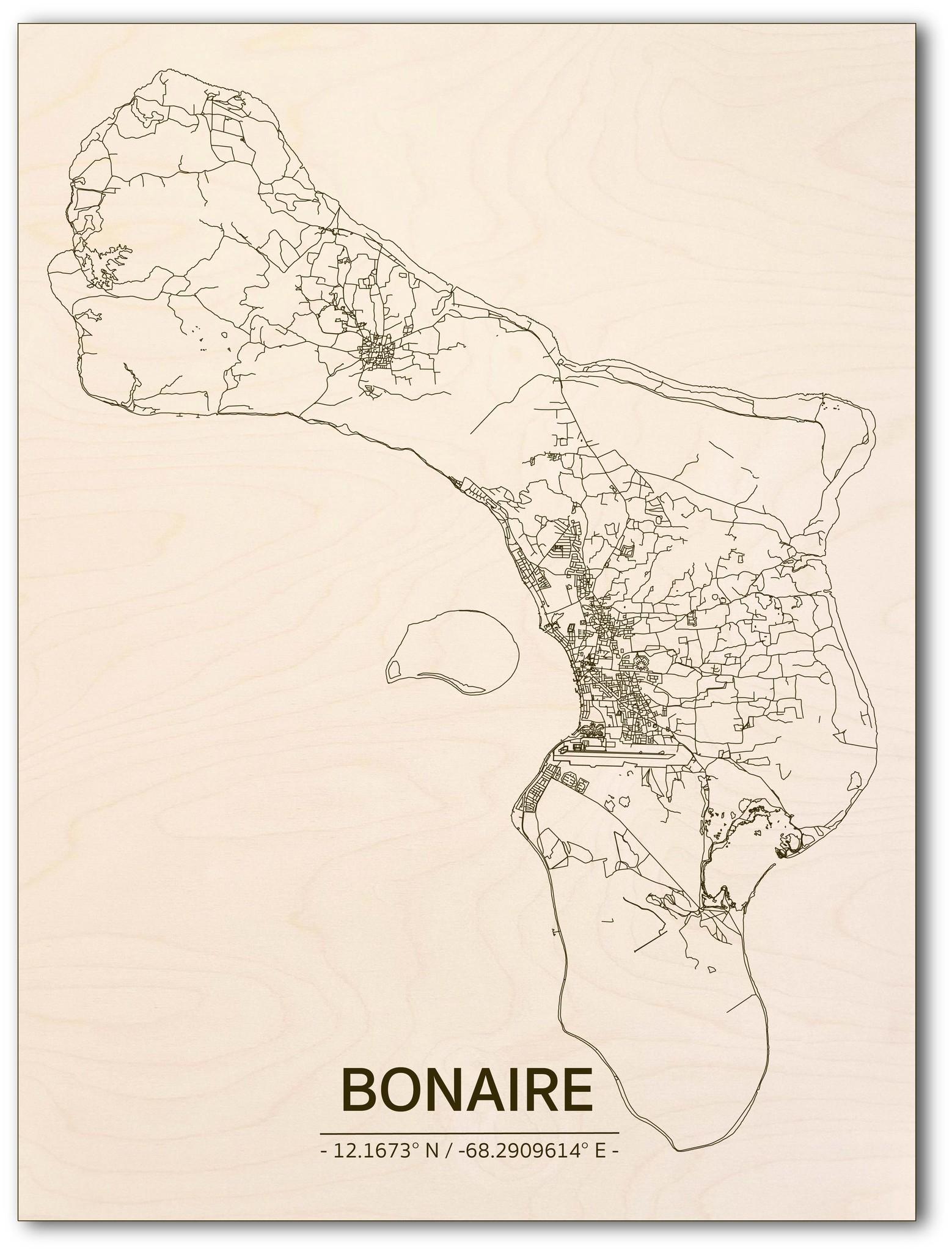 Citymap Bonaire | wooden wall decoration-1