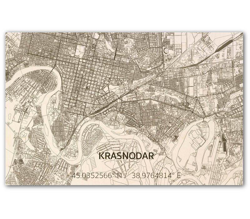 Stadtplan Krasnodar | Wanddekoration Holz