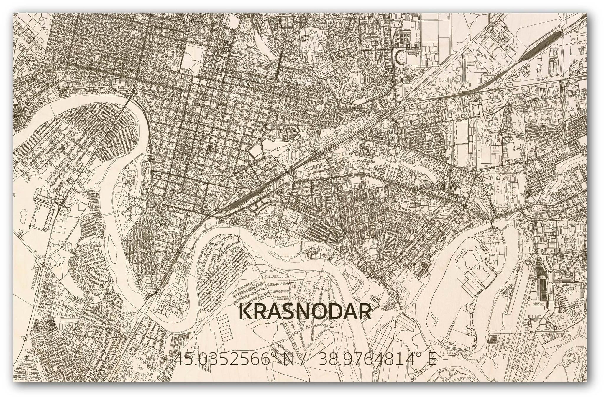 Citymap Krasnodar | wooden wall decoration-1