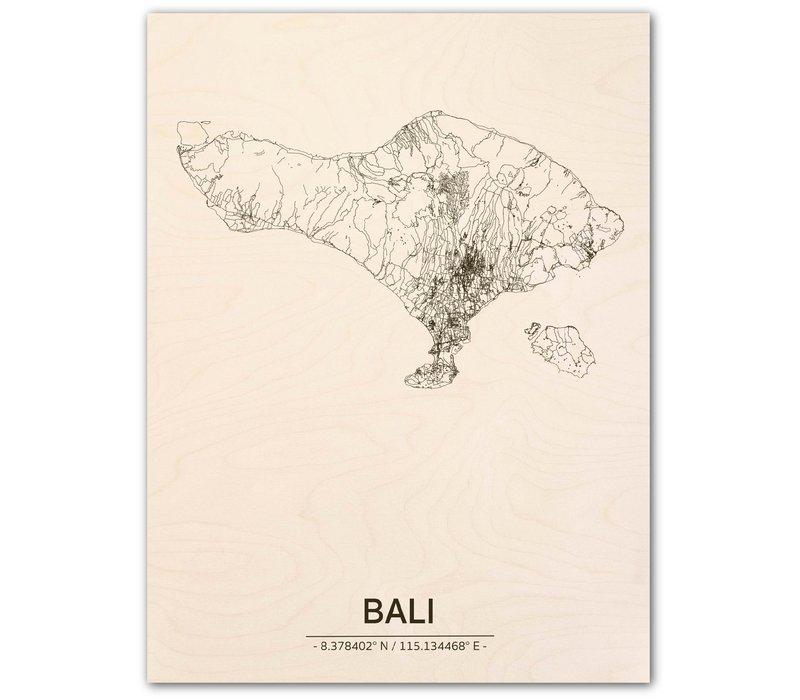 Citymap Bali | houten wanddecoratie