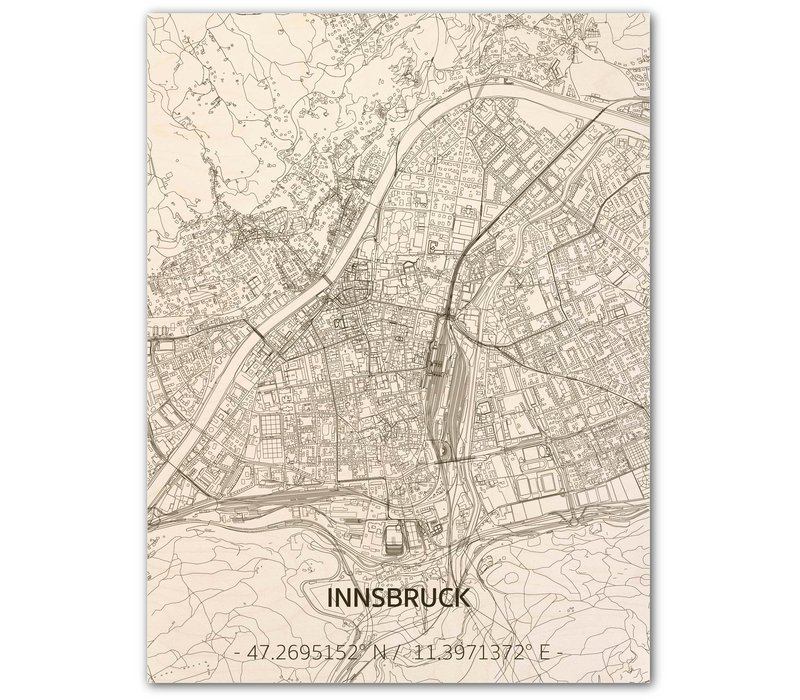 Citymap Innsbruck   houten wanddecoratie
