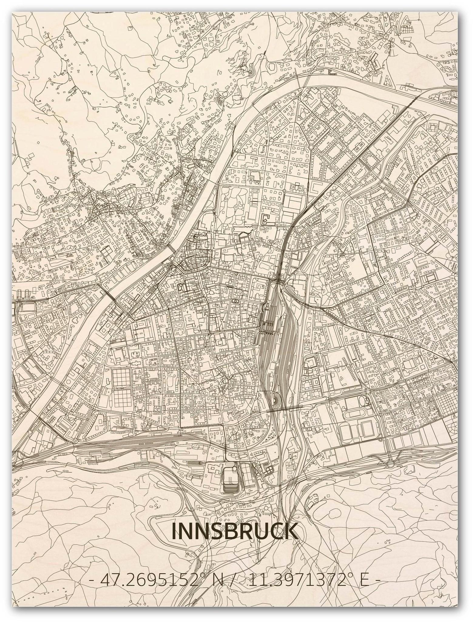 Citymap Innsbruck | houten wanddecoratie-1