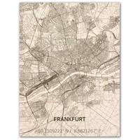 Stadtkarte Frankfurt | Wanddekoration Holz