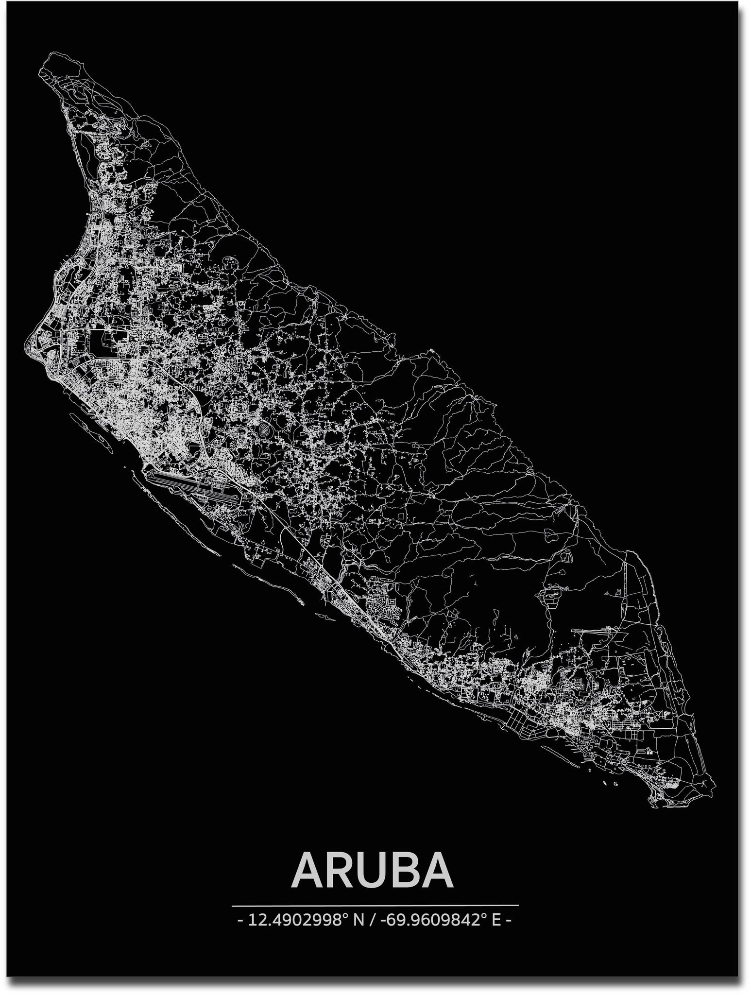 Stadtkarte Aruba | Aluminium Wanddekoration-1