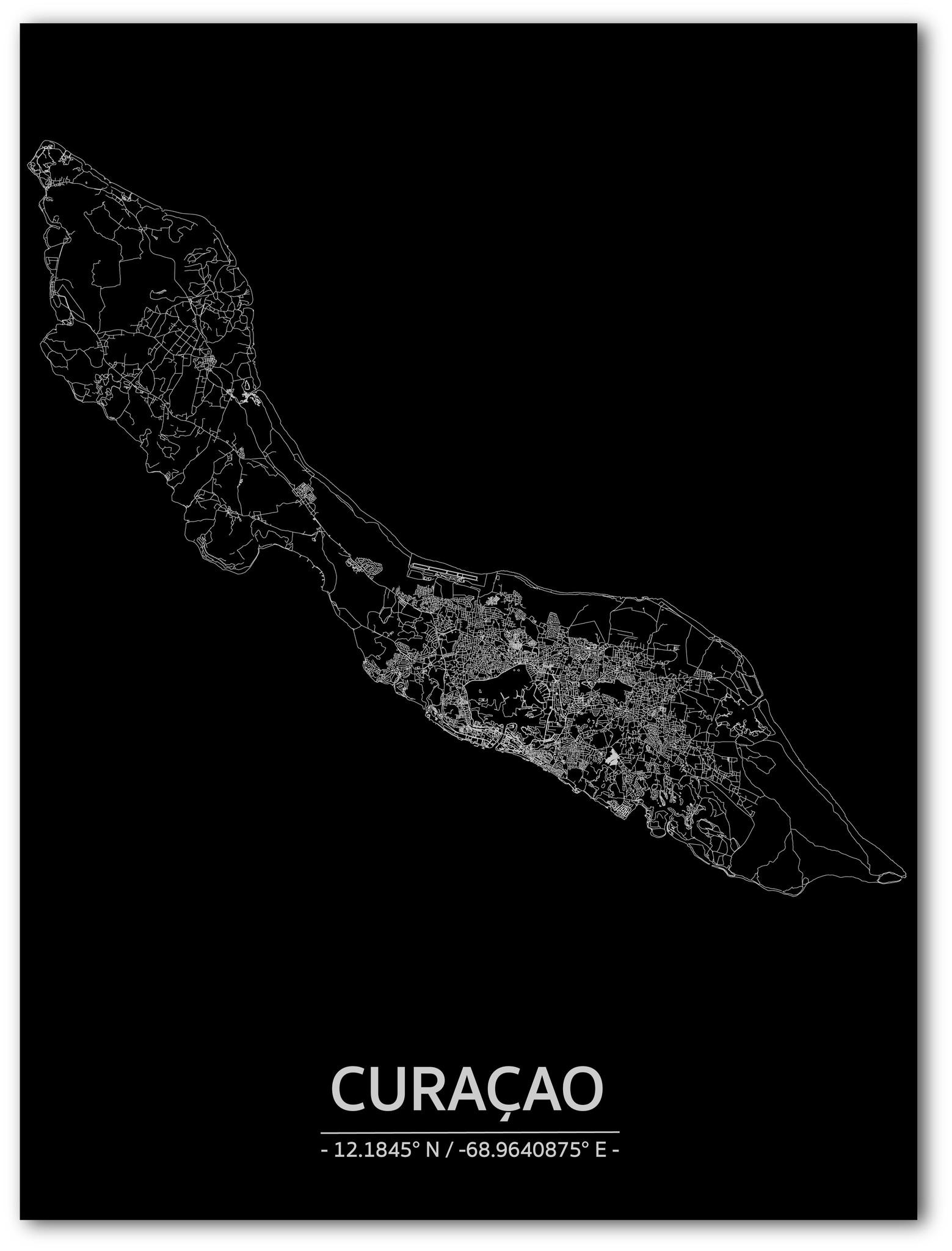 Citymap Curaçao | Aluminium wanddecoratie-1