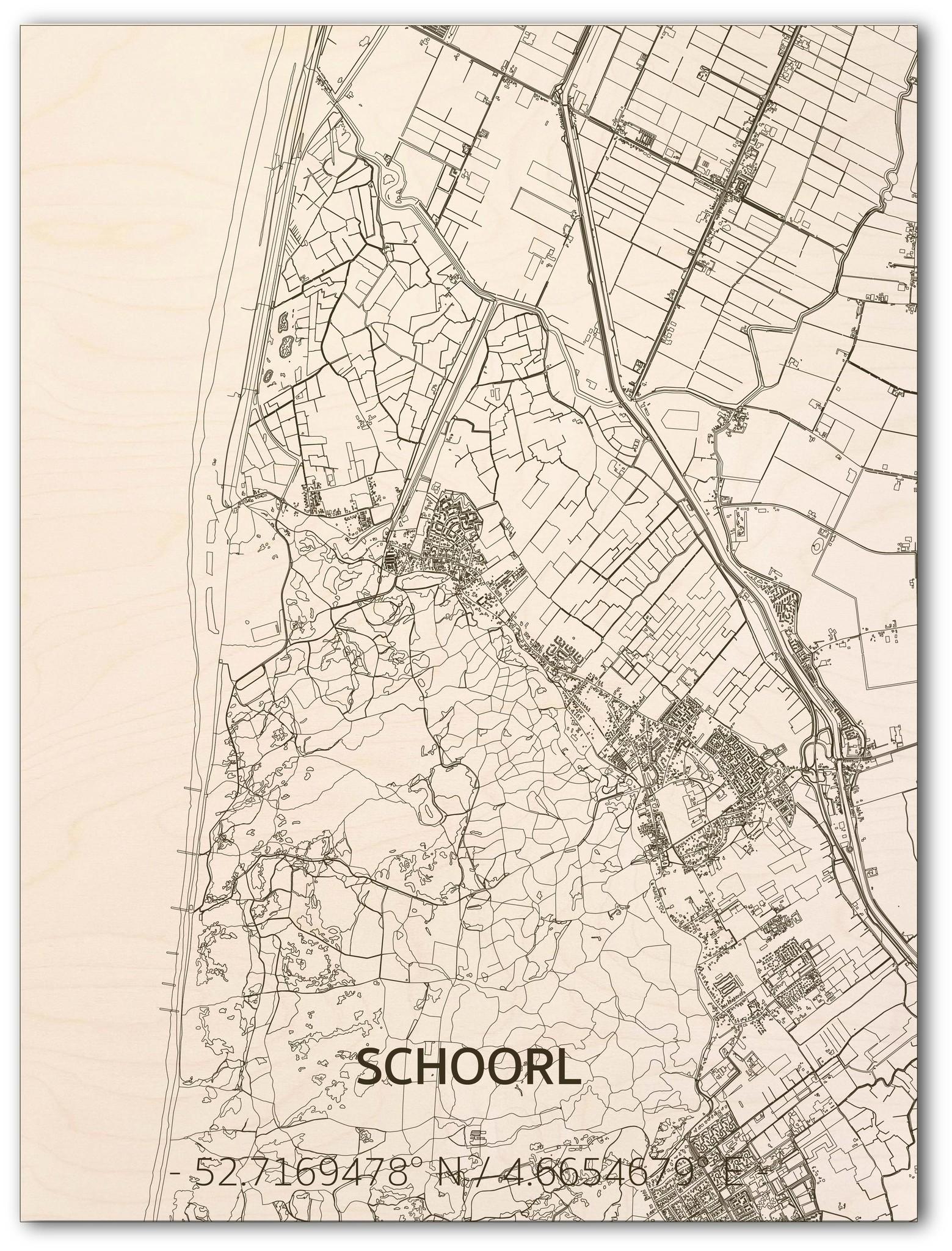 Citymap Schoorl | houten wanddecoratie-1