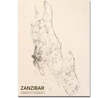 Stadtplan Zanzibar | Wanddekoration Holz