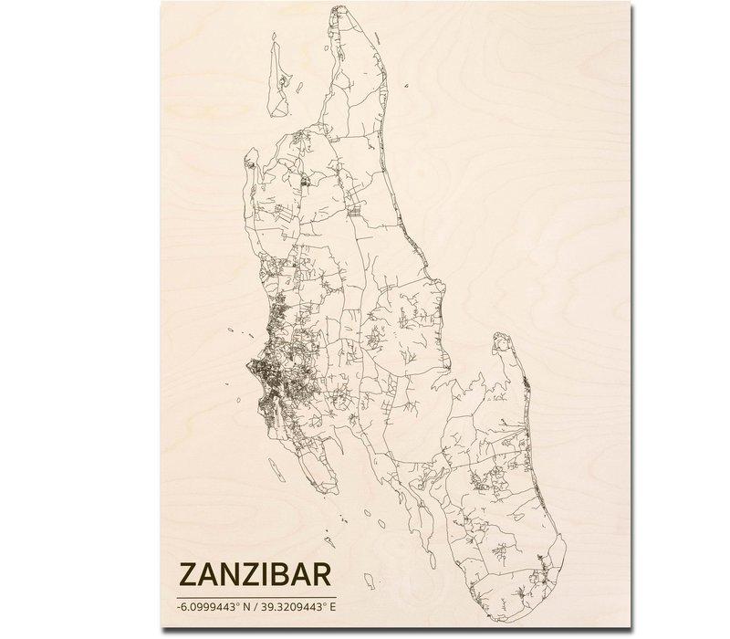 Citymap Zanzibar | wooden wall decoration