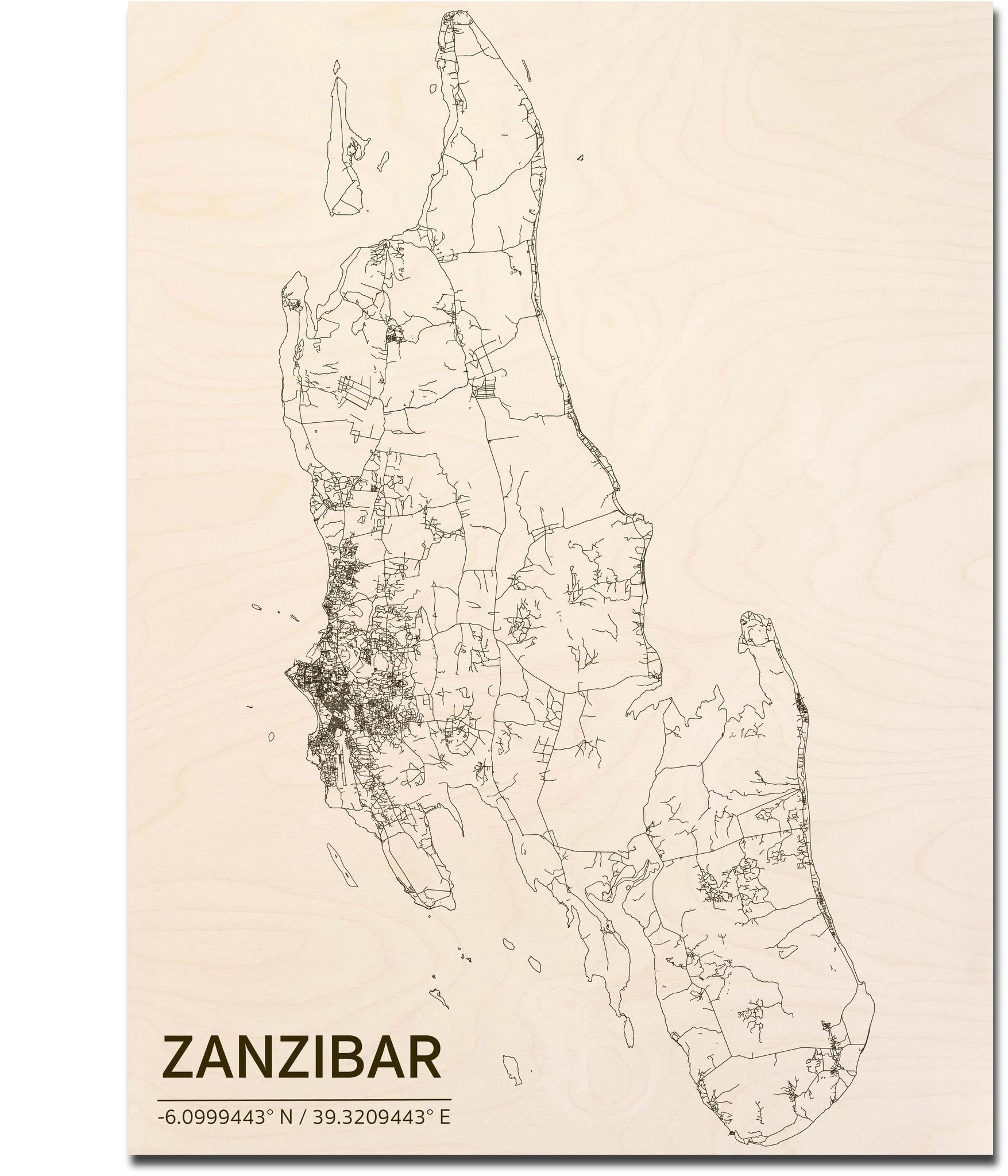 Stadtplan Zanzibar | Wanddekoration Holz-1