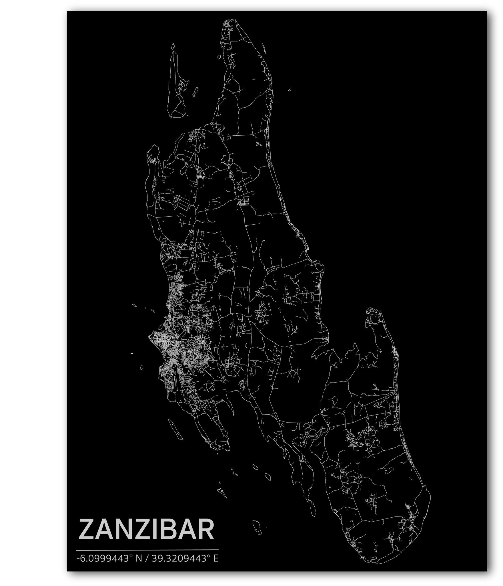 Stadtkarte Zanzibar | Aluminium Wanddekoration-1