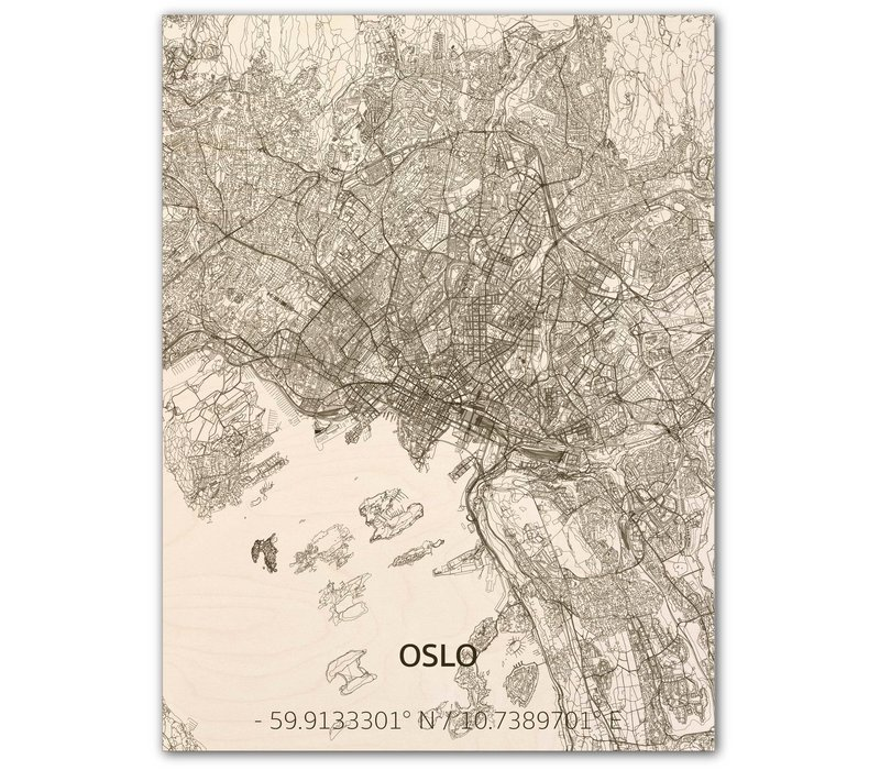Stadtplan Oslo | Wanddekoration Holz