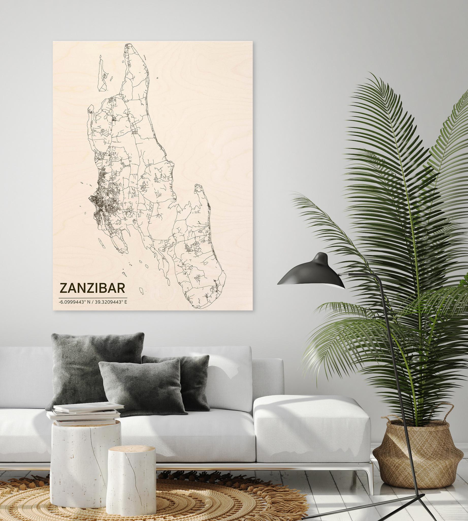 Stadtplan Zanzibar | Wanddekoration Holz-2