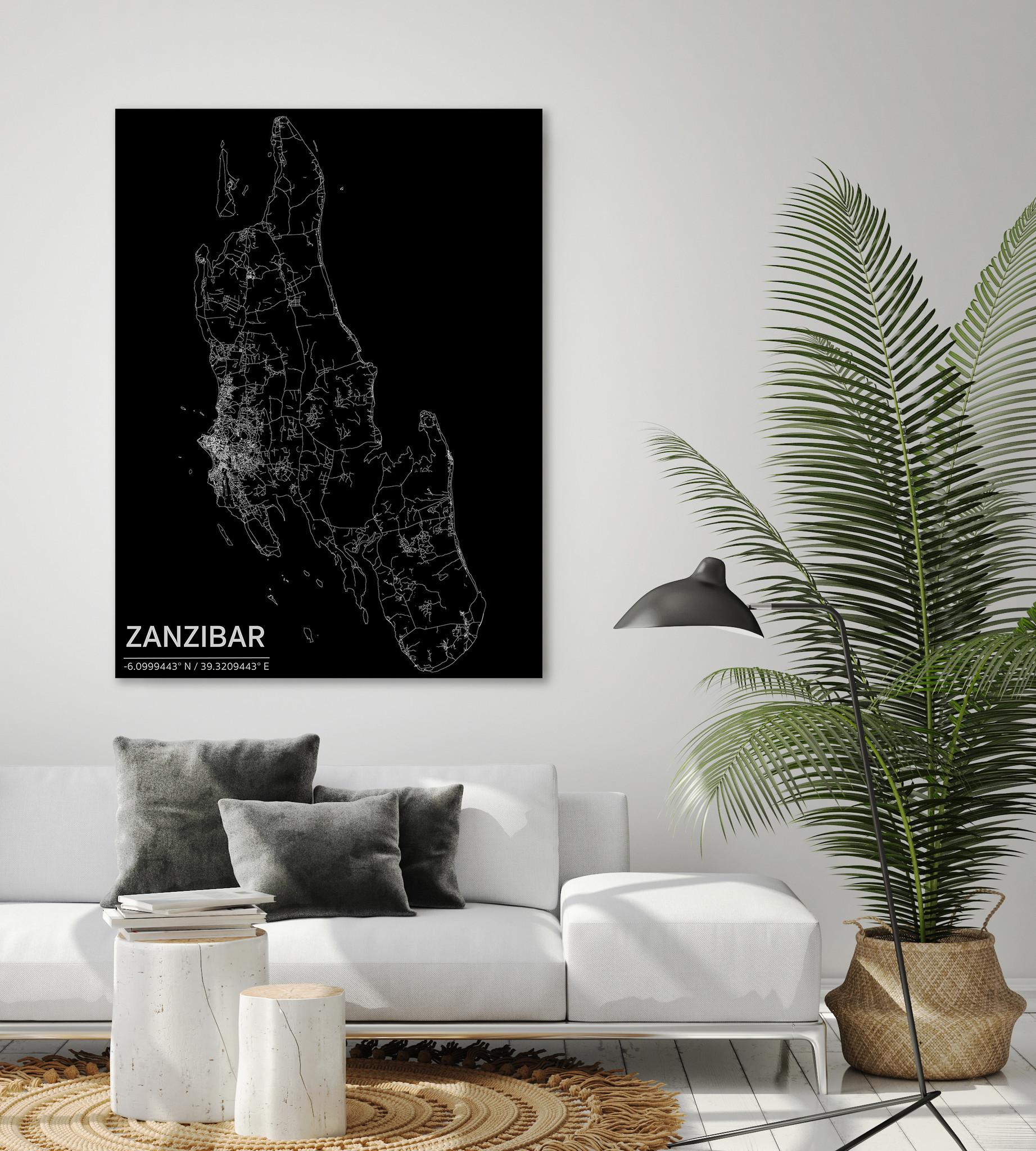 Stadtkarte Zanzibar | Aluminium Wanddekoration-2