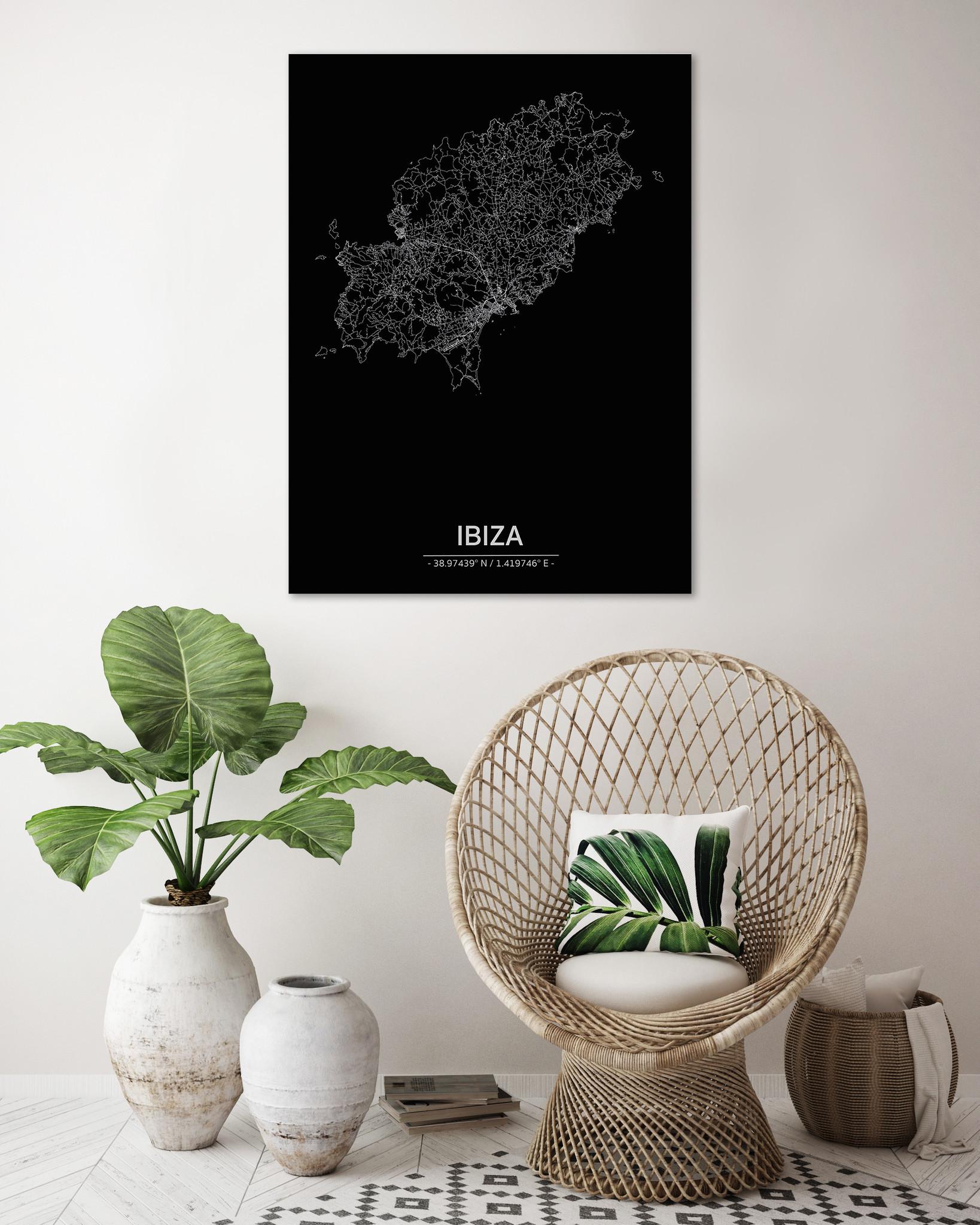 Stadtkarte Ibiza | Aluminium Wanddekoration-2