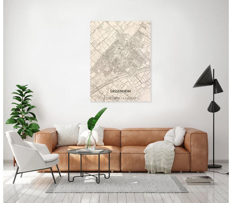 Citymap Sassenheim | wooden wall decoration