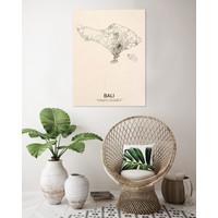 Stadtplan Bali | Wanddekoration Holz