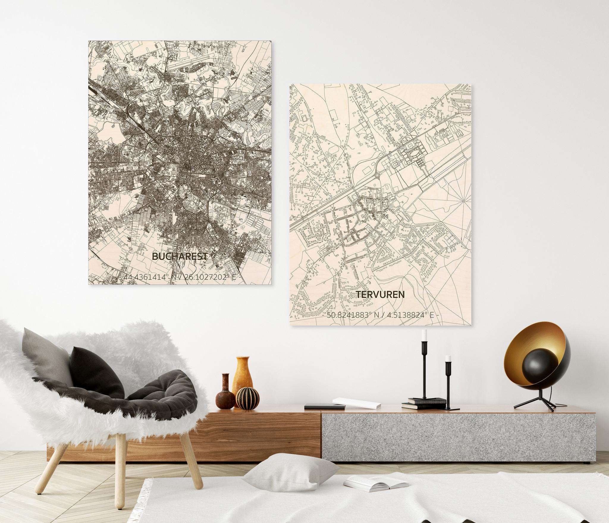 Stadtplan Tervuren | Wanddekoration Holz-2