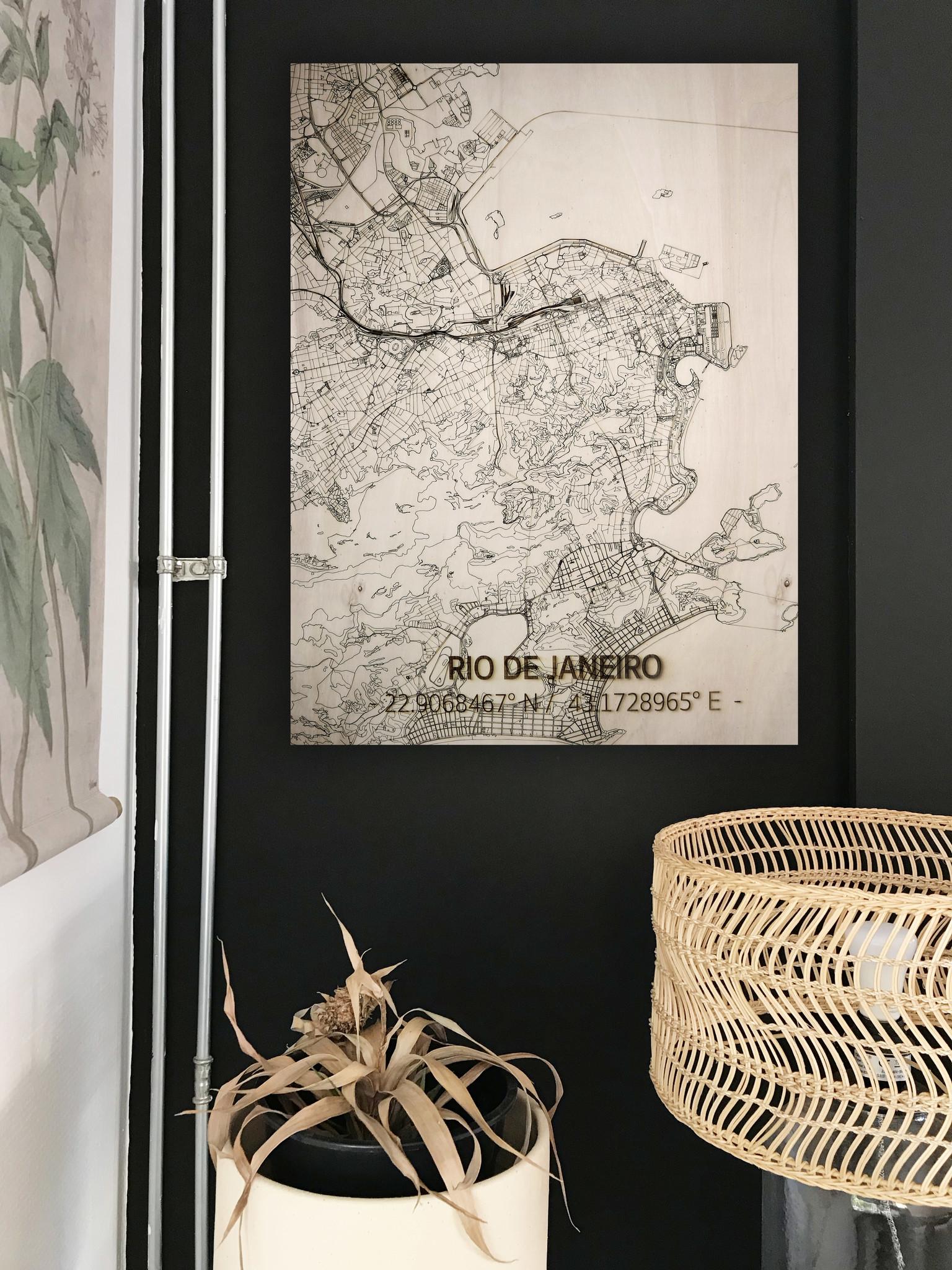 Citymap Rio de Janeiro  | houten wanddecoratie-2