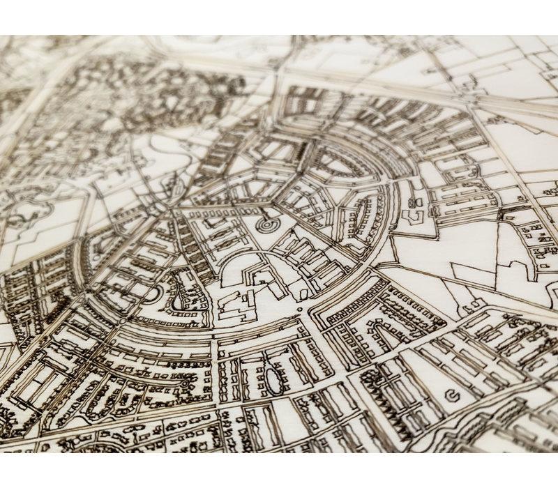 Stadtplan Cuijk | Wanddekoration Holz-4