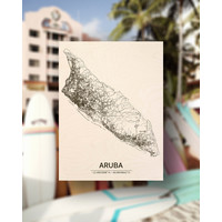 Citymap Aruba   houten wanddecoratie