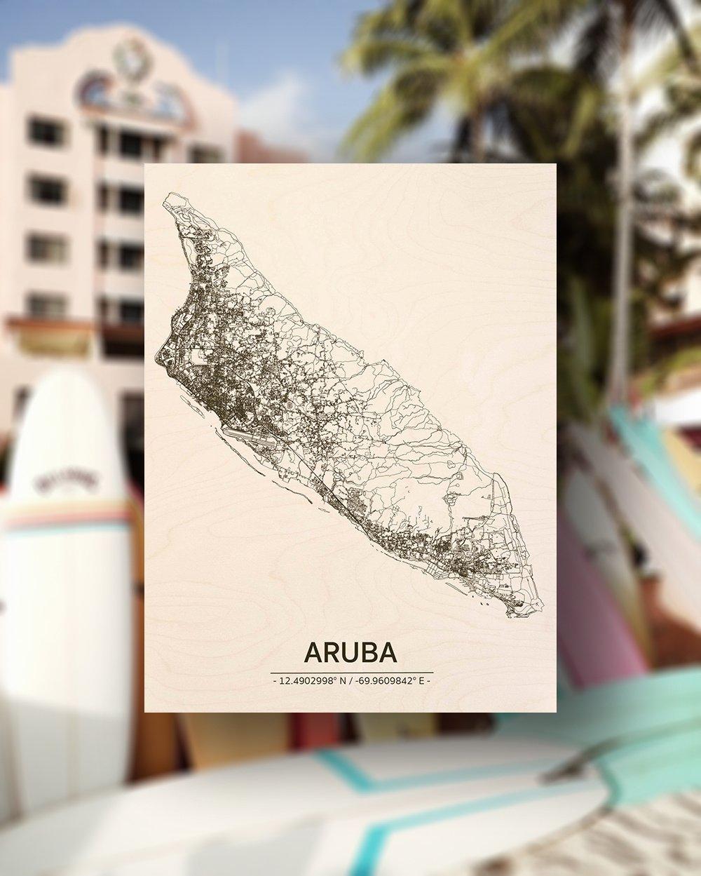 Stadtplan Aruba | Wanddekoration Holz-2