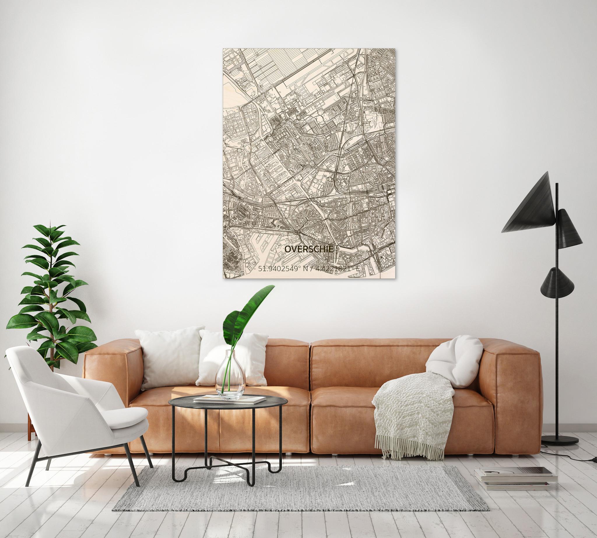 Stadtplan Overschie | Wanddekoration Holz-2