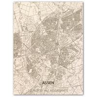 Citymap Assen   houten wanddecoratie