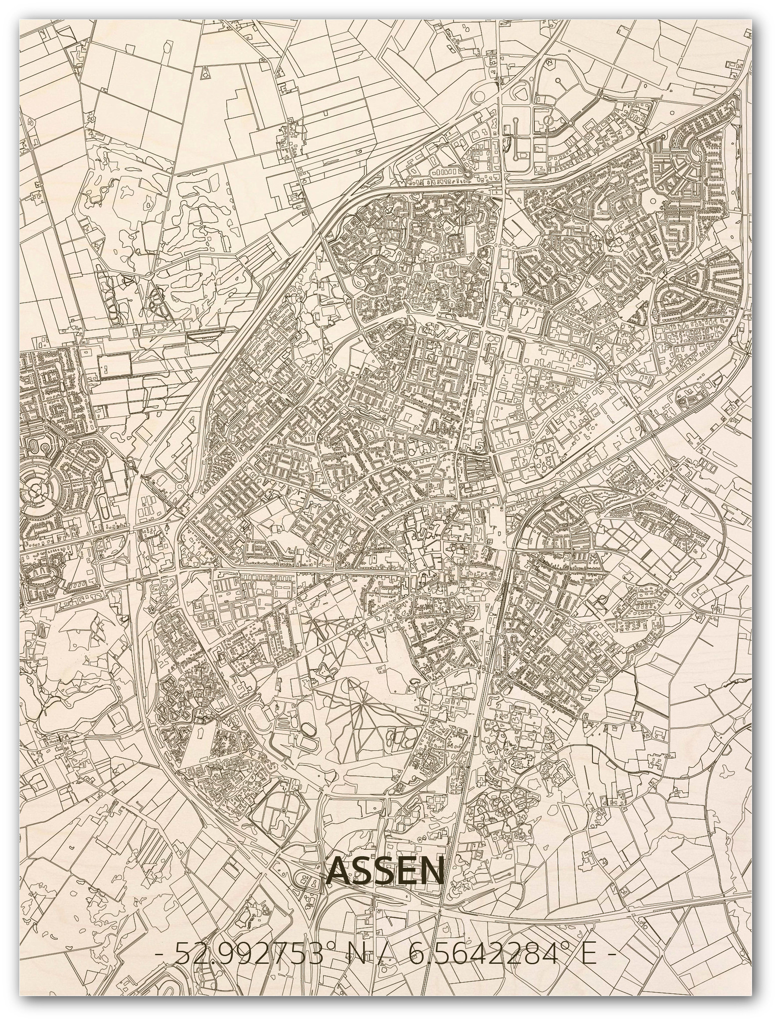 WOODEN WALL DECORATION ASSEN CITYMAP-1