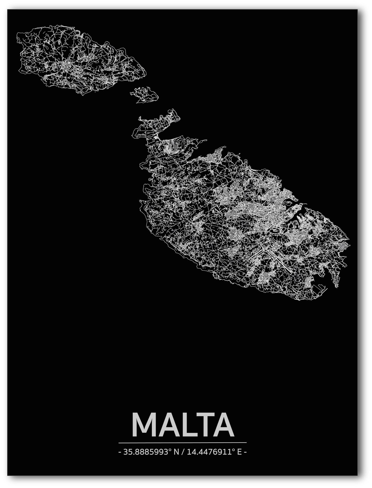 Citymap Malta | Aluminium wanddecoratie-1