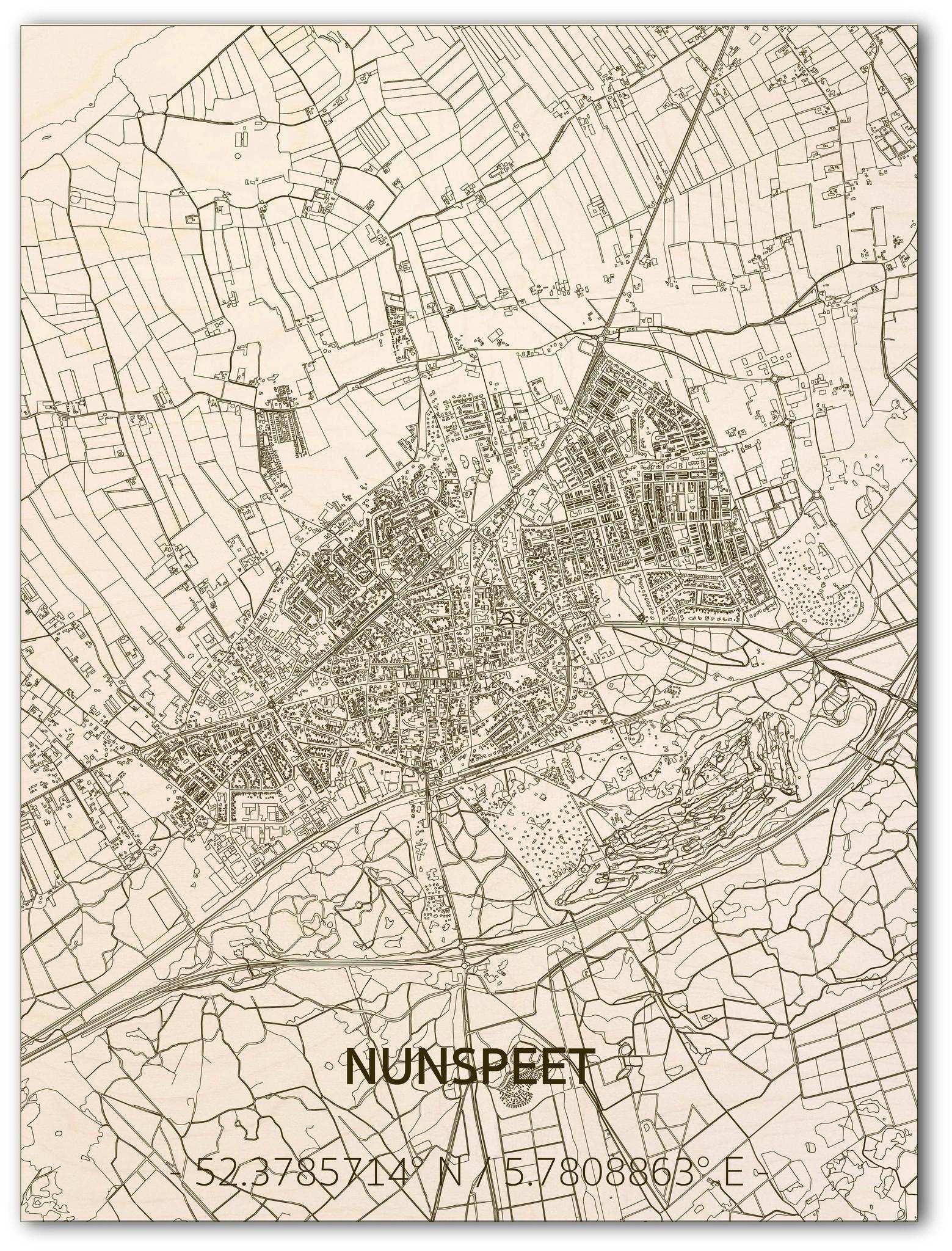 Stadtplan Nunspeet | Wanddekoration Holz-1