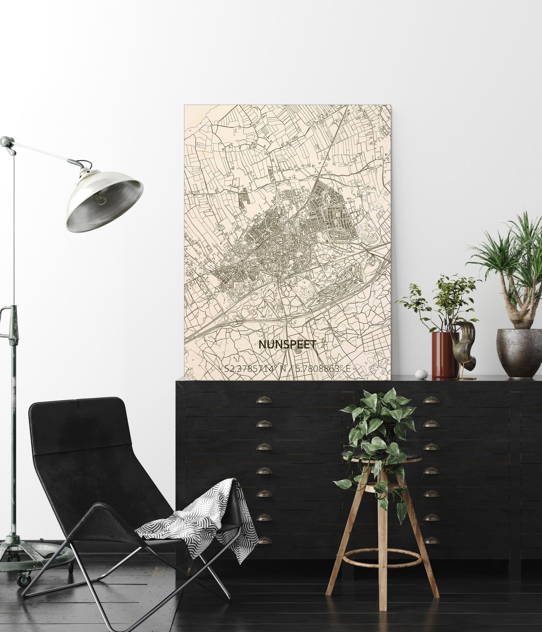 Stadtplan Nunspeet | Wanddekoration Holz-2