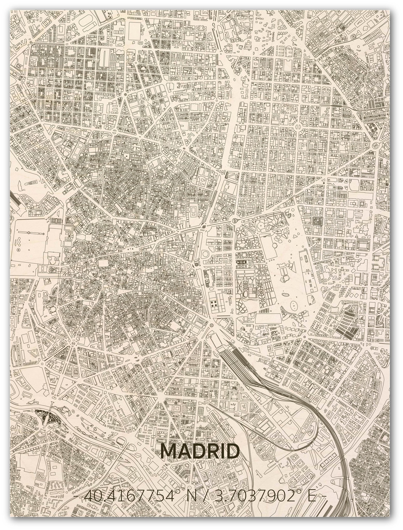Citymap Madrid | houten wanddecoratie-1