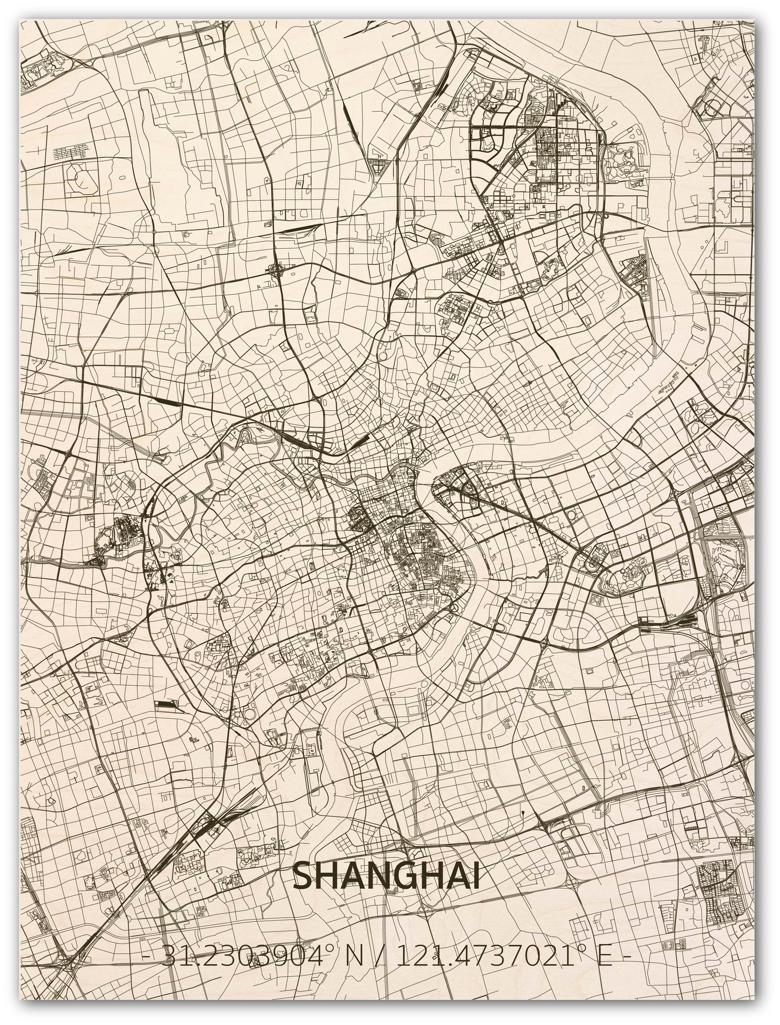 WOODEN WALL DECORATION SHANGHAI CITYMAP-1