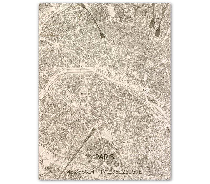 Citymap Parijs | houten wanddecoratie