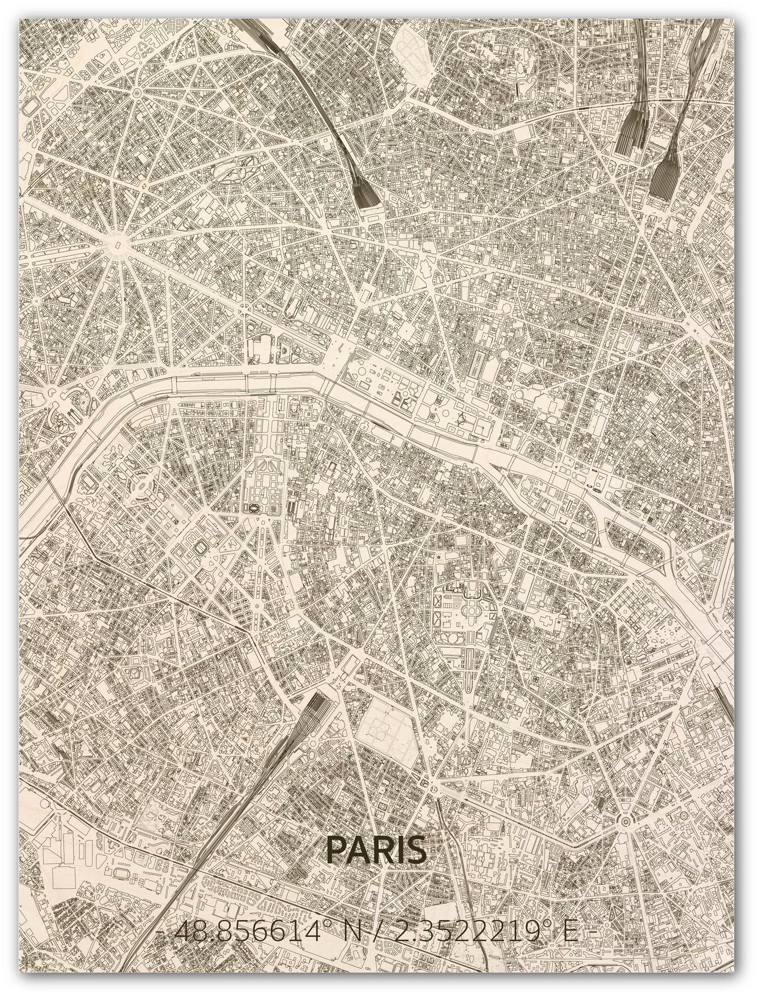 Citymap Paris | Wooden wall decoration-1