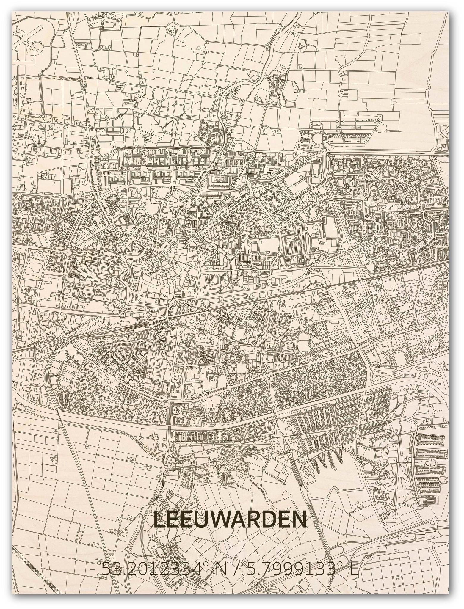 Citymap Leeuwarden   houten wanddecoratie-1
