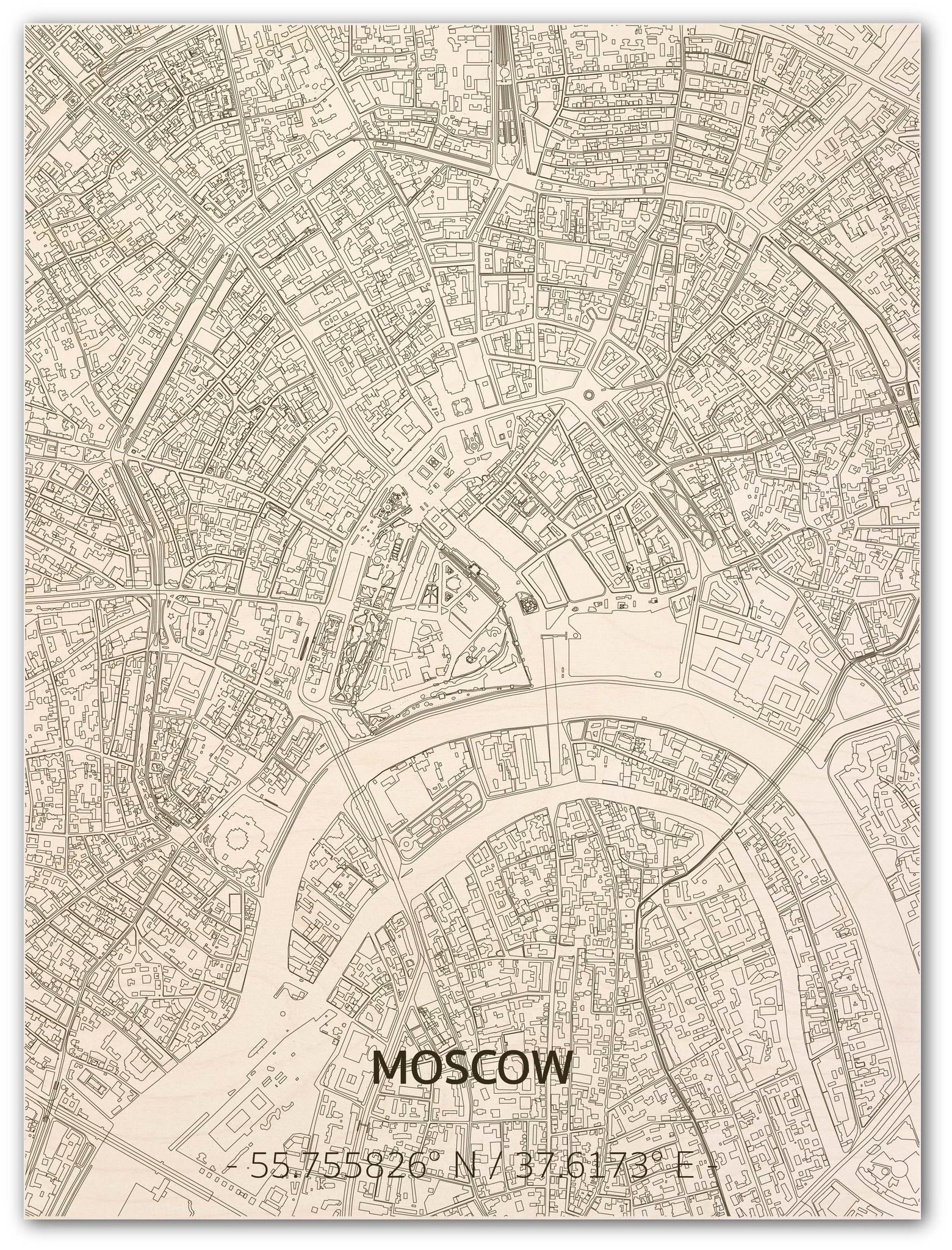 Stadtplan Moskau | Wanddekoration Holz-1
