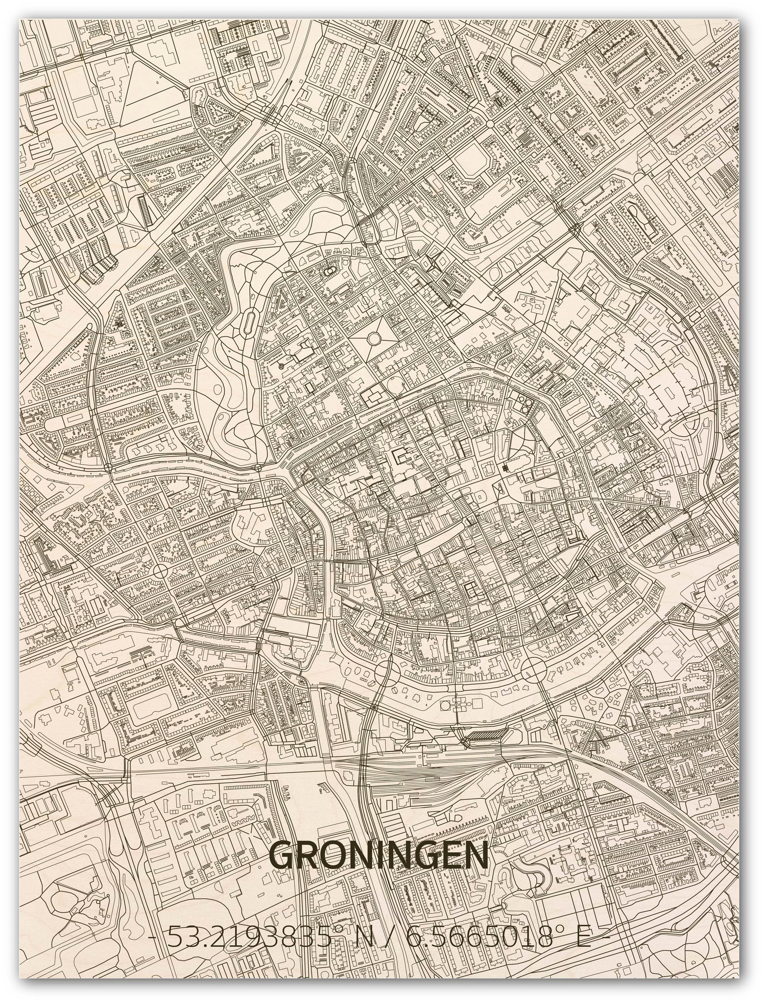 Wall decoration Citymap Groningen | Wooden wall panel-1
