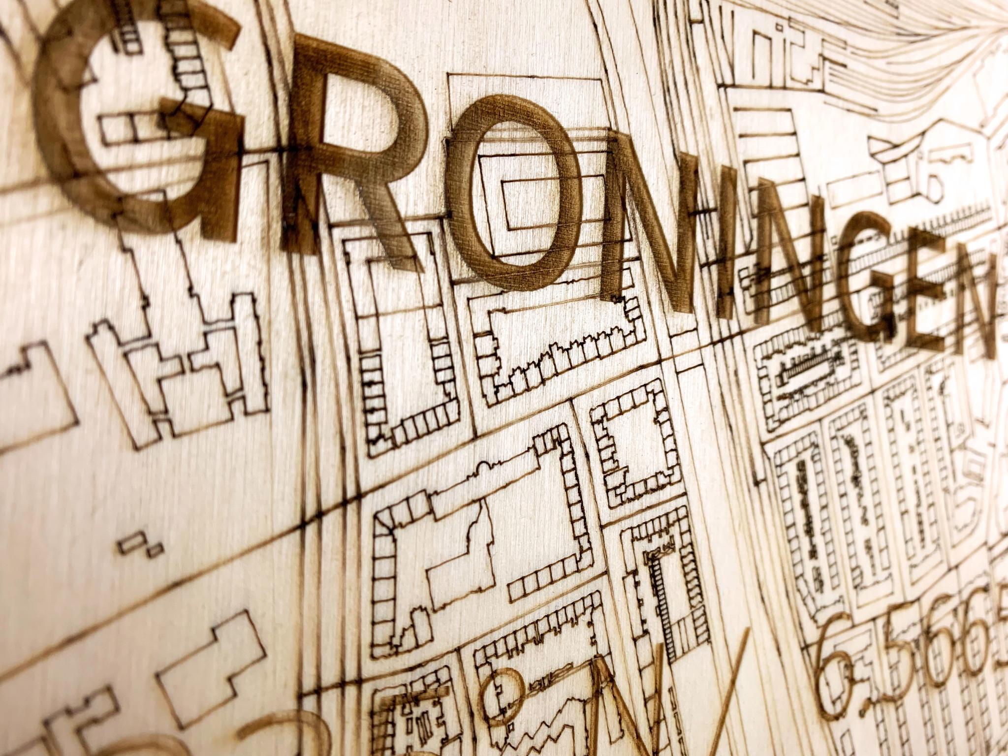 Wall decoration Citymap Groningen | Wooden wall panel-3