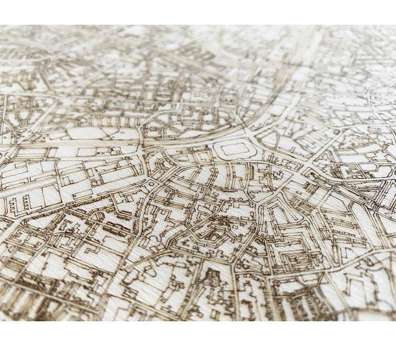 Citymap Hilversum | houten wanddecoratie