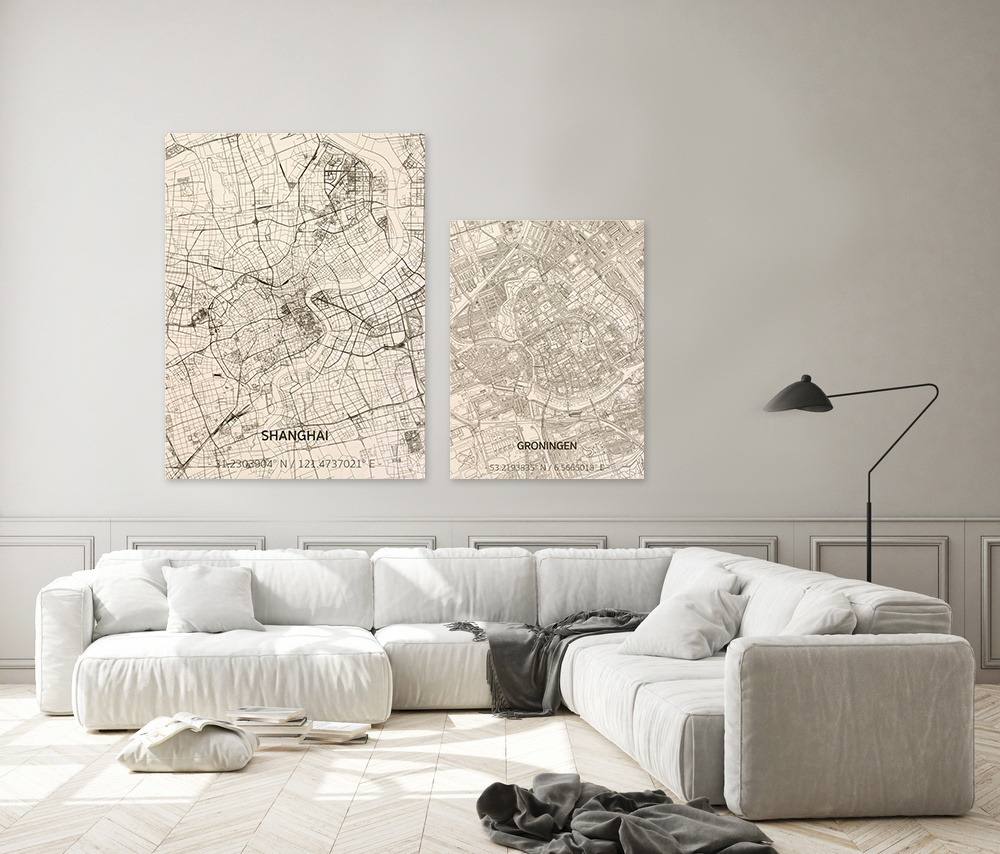 Wall decoration Citymap Groningen | Wooden wall panel-2