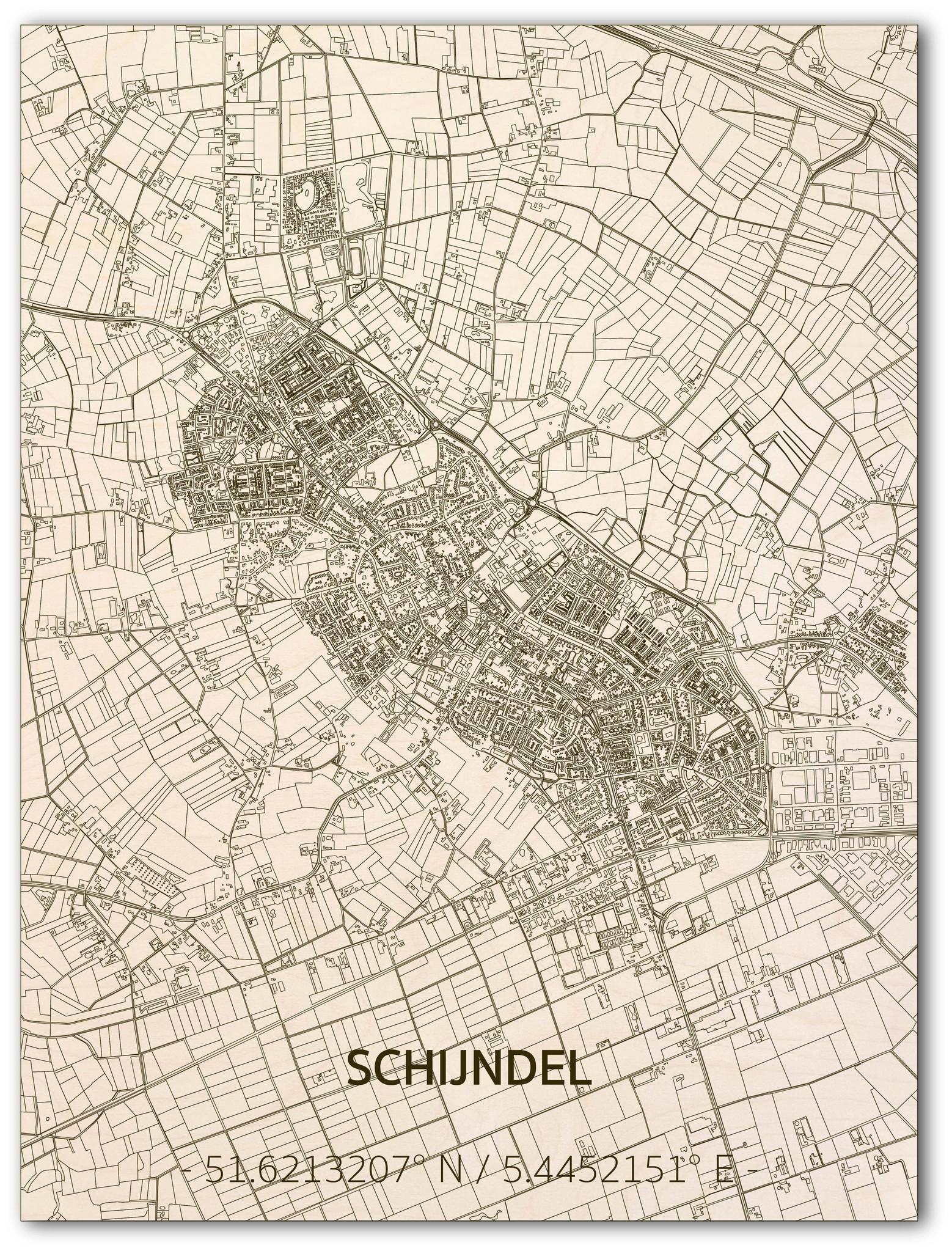 Citymap Schijndel | houten wanddecoratie-1
