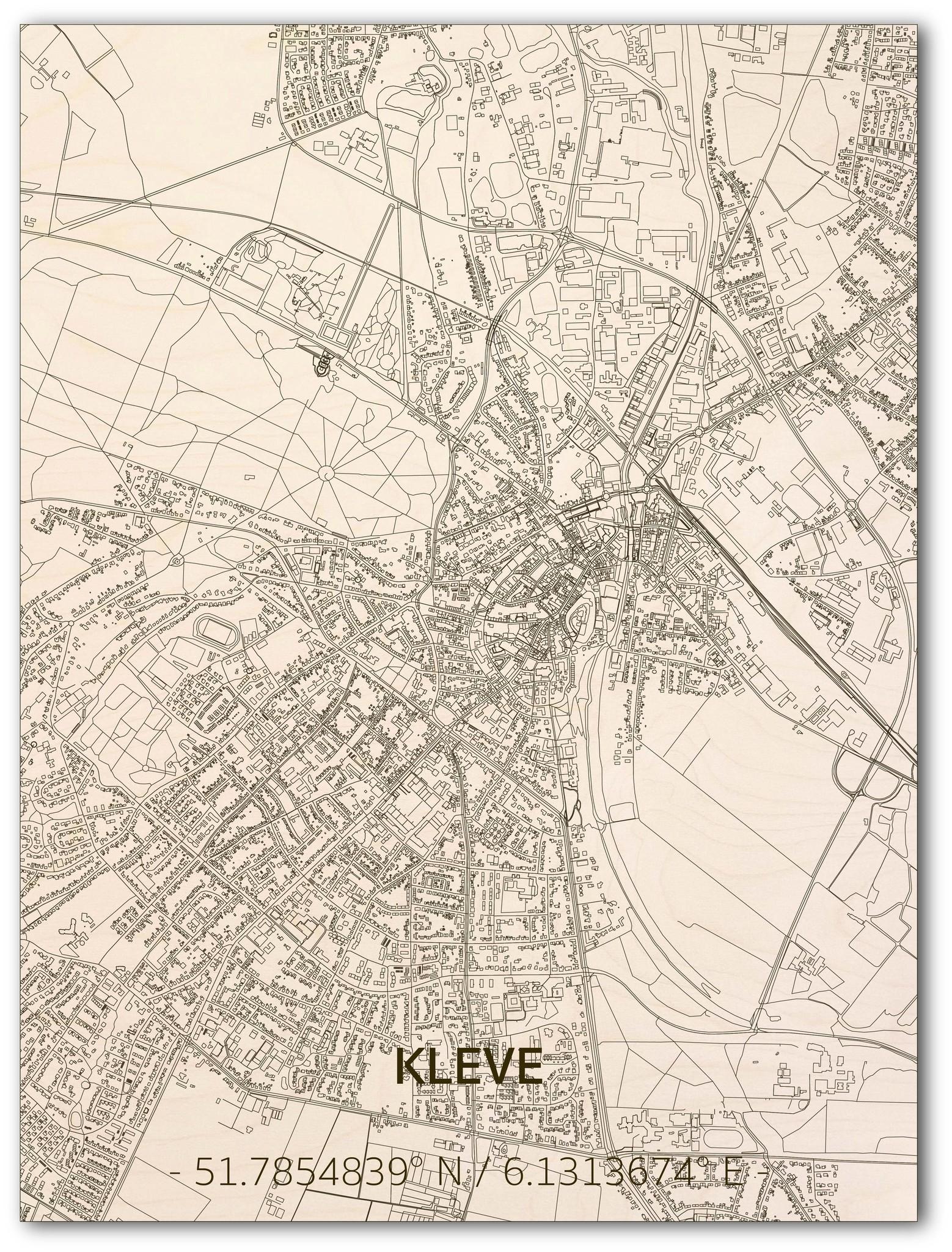 Citymap Kleve | houten wanddecoratie-1