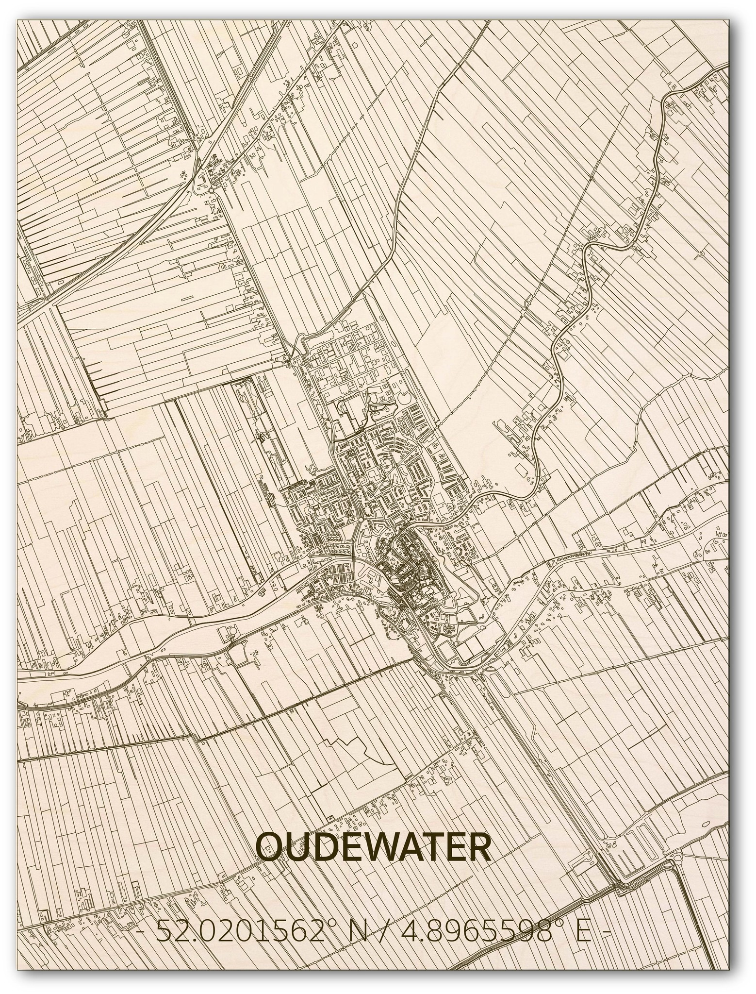 Citymap Oudewater | wooden wall decoration-1