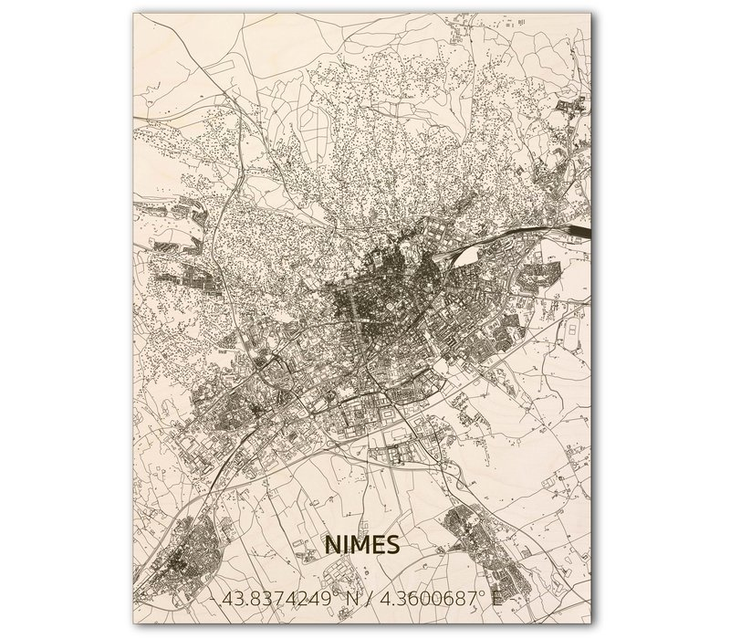 Citymap Nîmes | wooden wall decoration